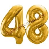 Luftballon Zahl 48, gold, 86 cm