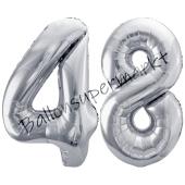 Luftballon Zahl 48, silber, 86 cm