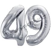 Luftballon Zahl 49, silber, 86 cm