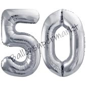 Luftballon Zahl 50, silber, 86 cm