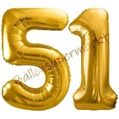 Luftballon Zahl 51, gold, 86 cm
