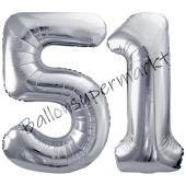 Luftballon Zahl 51, silber, 86 cm