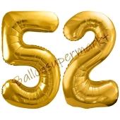 Luftballon Zahl 52, gold, 86 cm