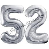 Luftballon Zahl 52, silber, 86 cm