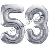 Luftballon Zahl 53, silber, 86 cm