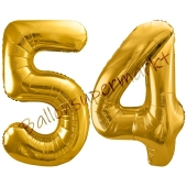 Luftballon Zahl 54, gold, 86 cm