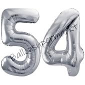 Luftballon Zahl 54, silber, 86 cm