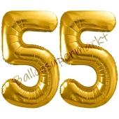 Luftballon Zahl 55, gold, 86 cm