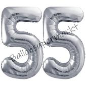 Luftballon Zahl 55, silber, 86 cm