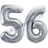 Luftballon Zahl 56, silber, 86 cm