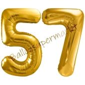 Luftballon Zahl 57, gold, 86 cm