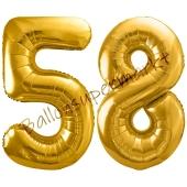 Luftballon Zahl 58, gold, 86 cm