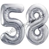 Luftballon Zahl 58, silber, 86 cm