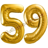 Luftballon Zahl 59, gold, 86 cm