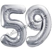 Luftballon Zahl 59, silber, 86 cm