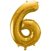 Luftballon Zahl 6, gold, 86 cm