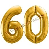 Luftballon Zahl 60, gold, 86 cm