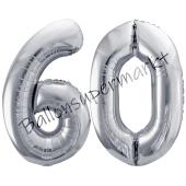 Luftballon Zahl 60, silber, 86 cm