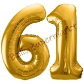 Luftballon Zahl 61, gold, 86 cm