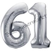 Luftballon Zahl 61, silber, 86 cm