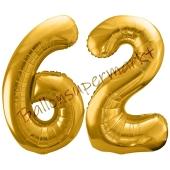 Luftballon Zahl 62, gold, 86 cm