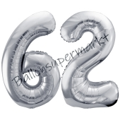 Luftballon Zahl 62, silber, 86 cm