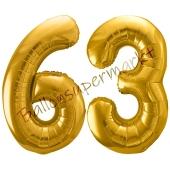 Luftballon Zahl 63, gold, 86 cm