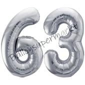 Luftballon Zahl 63, silber, 86 cm