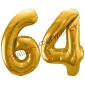 Luftballon Zahl 64, gold, 86 cm
