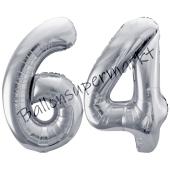 Luftballon Zahl 64, silber, 86 cm