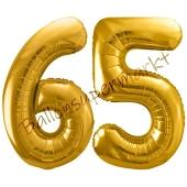 Luftballon Zahl 65, gold, 86 cm