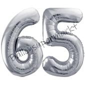 Luftballon Zahl 65, silber, 86 cm