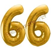 Luftballon Zahl 66, gold, 86 cm