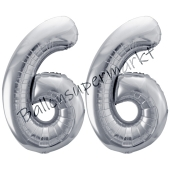 Luftballon Zahl 66, silber, 86 cm