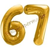 Luftballon Zahl 67, gold, 86 cm