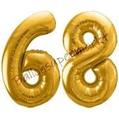 Luftballon Zahl 68, gold, 86 cm