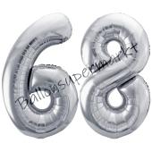 Luftballon Zahl 68, silber, 86 cm