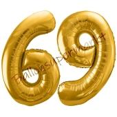 Luftballon Zahl 69, gold, 86 cm