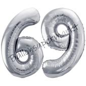 Luftballon Zahl 69, silber, 86 cm