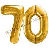 Luftballon Zahl 70, gold, 86 cm
