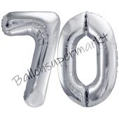 Luftballon Zahl 70, silber, 86 cm