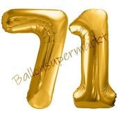 Luftballon Zahl 71, gold, 86 cm