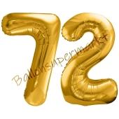 Luftballon Zahl 72, gold, 86 cm