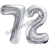 Luftballon Zahl 72, silber, 86 cm