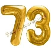 Luftballon Zahl 73, gold, 86 cm