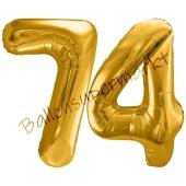 Luftballon Zahl 74, gold, 86 cm