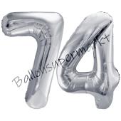 Luftballon Zahl 74, silber, 86 cm
