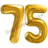 Luftballon Zahl 75, gold, 86 cm