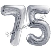 Luftballon Zahl 75, silber, 86 cm