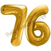 Luftballon Zahl 76, gold, 86 cm